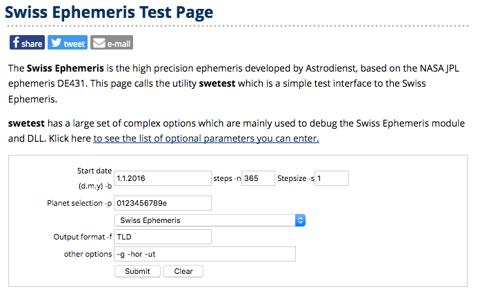 Swiss Ephemeris test page